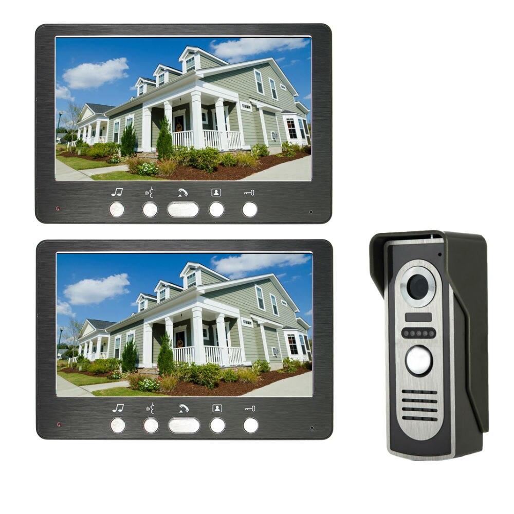 7 Inch Video Door Phone Doorbell Intercom Kit 2 Indoor Monitor 1 Outdoor Camera Hands-free Call Electric Lock-control