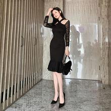 Осенне зимние черные сексуальные платья женвечерние вечернее