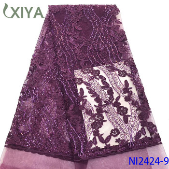 Best Quality African Lace Fabric Sequence Lace Embroidery Nigerian Net Lace with Sequins Latest French Tulle Mesh Lace NI2424