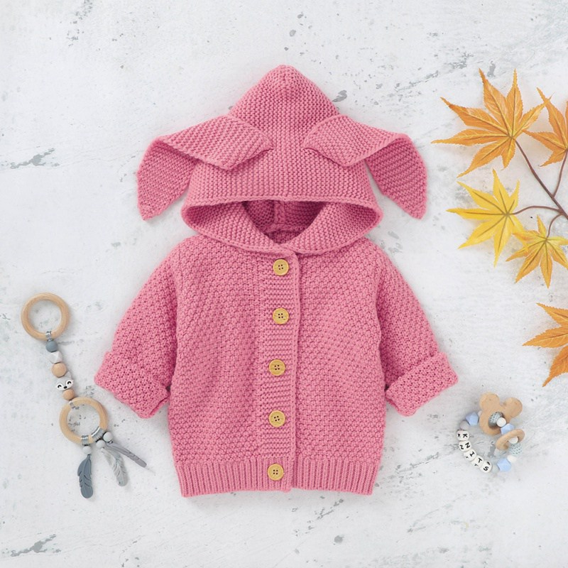 Baby Boys Girls Sweater Knitted Sweatshirt Solid Print Ear Hoodie Shirt Autumn Winter Kids Children High Quality Warm Outerwear