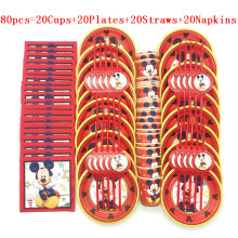 Hot Red Mickey Mouse Theme Disposable Paper Cups Plates Flexible Straws Baby Shower Kid Birthday Napkin Decoration Supplies Set