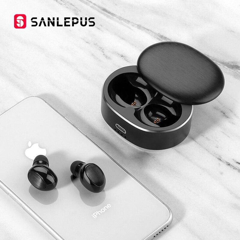 SANLEPUS TWS 5,0 Мини Bluetooth наушники Беспроводные спортивные наушники 3D стерео гарнитура шумоподавление наушники с микрофоном
