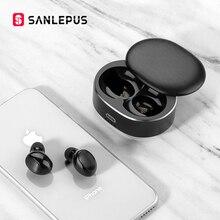 SANLEPUS TWS 5.0 miniaturowe słuchawki z Bluetooth bezprzewodowe słuchawki sportowe 3D zestaw słuchawkowy Stereo słuchawki z redukcją szumów słuchawki douszne z mikrofonem