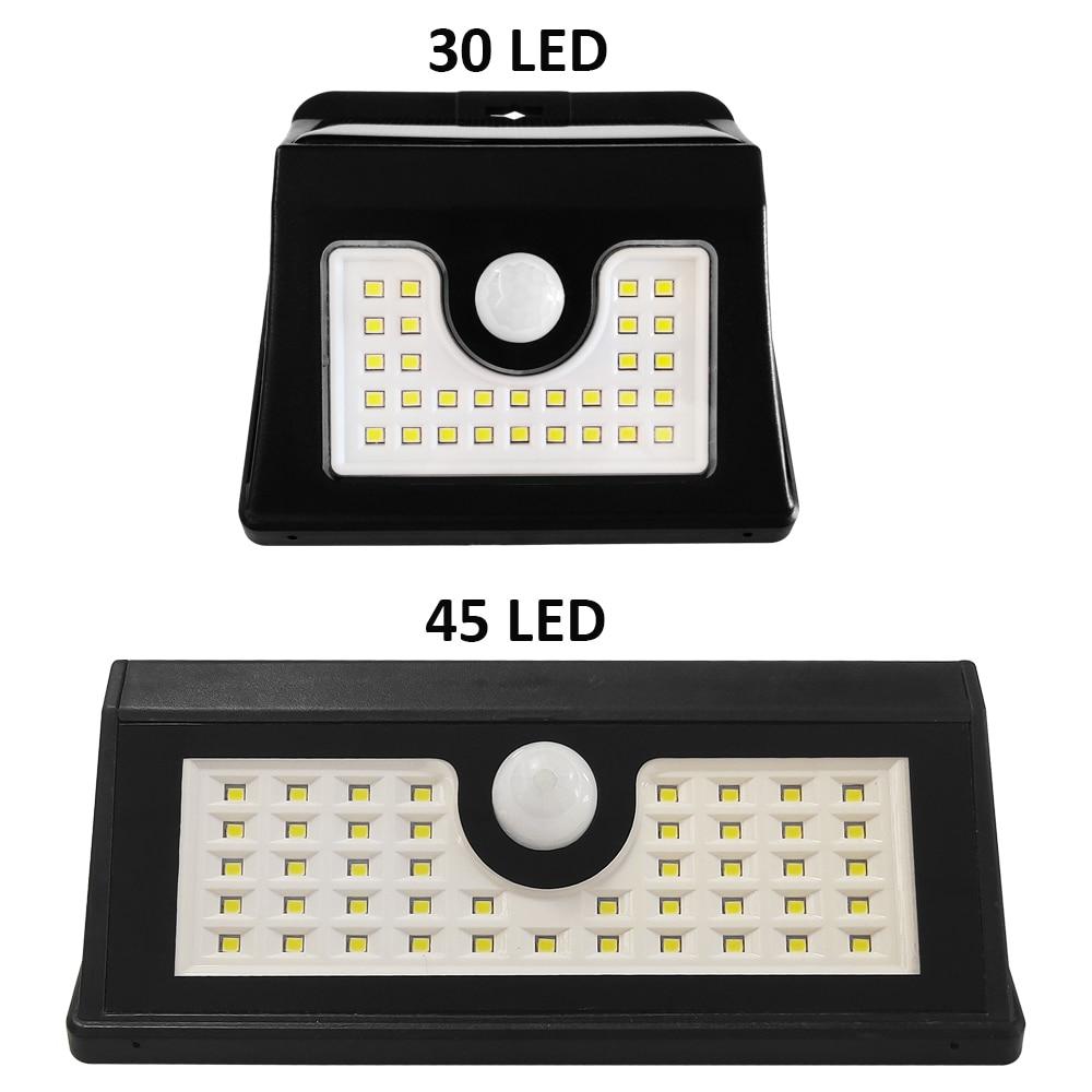 Solar Lamp Motion Sensor Outdoor Wall Light 30/45 LED Waterproof Wireless Security Lights For Yard Garage Garden Front Door