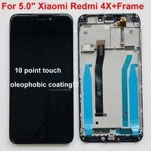 """100% 오리지널 5.0 """"Xiaomi Redmi 4X LCD 스크린 디스플레이 + Redmi 4X 디스플레이 지원 10 터치 용 프레임이있는 터치 패널 디지타이저"""
