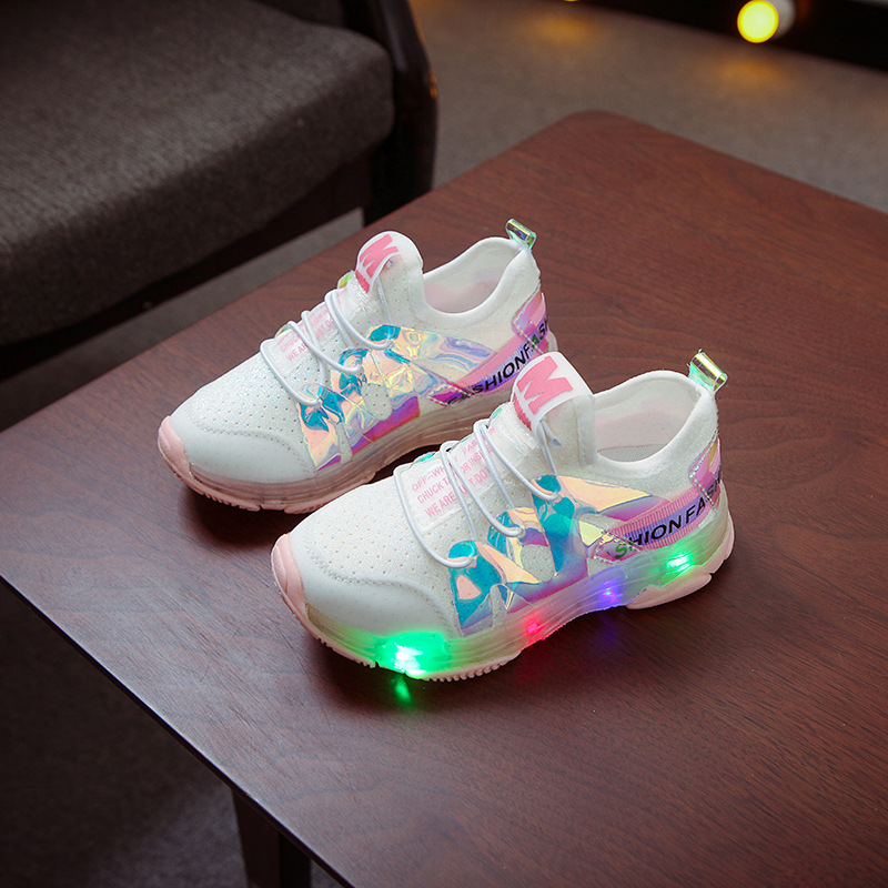 Children's Cartoon Non-slip Soft Bottom Casual Sports Shoes Fashion Girls Running Shoes With LED Lighting S