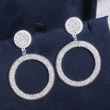2019 new arrival luxury round 925 sterling silver earrings for women party gift jewelry wholesale moonso E5491