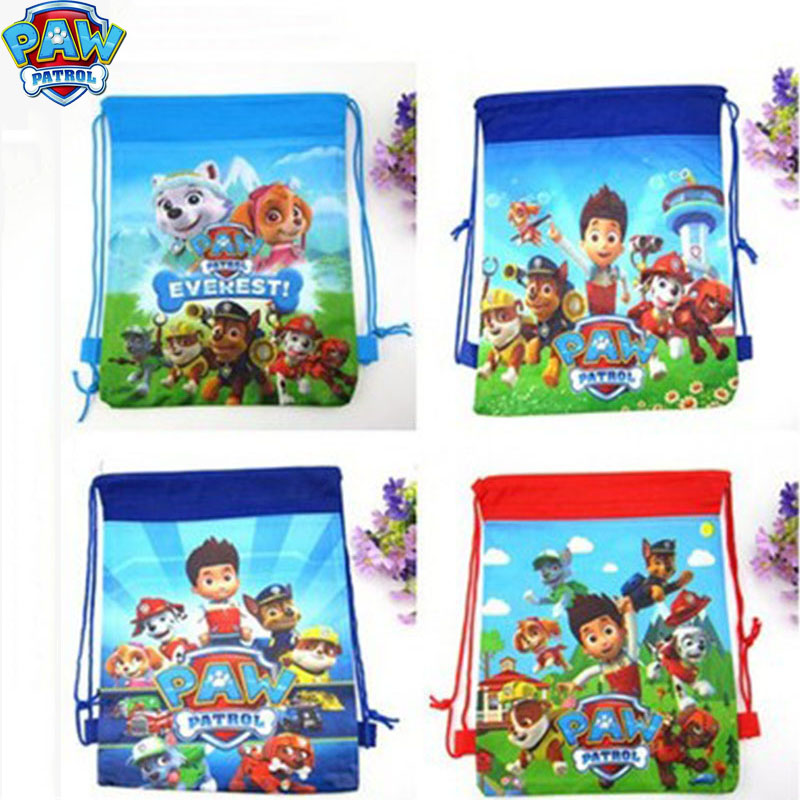 Paw Patrol Cartoon Non-woven Bundle Pocket Storage Bag Fabric Shopping Bag George Family Action Figure Drawstring Bags 2D66