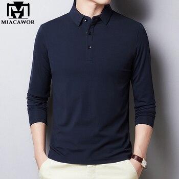 Мужская хлопковая приталенная рубашка-поло, однотонная Классическая рубашка-поло с длинными рукавами, модель T894, 2020
