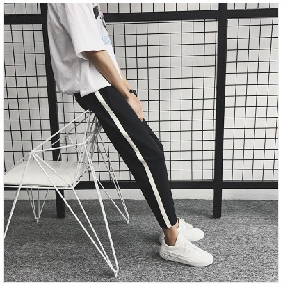 Long Pants Male STUDENT'S Summer Side Edge White Bars Striped Pants Thin Slim Fit Korean-style Trend Loose Casual Sports Pants