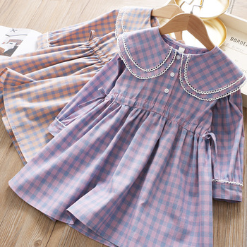 5209 Plaid Embroidery Lace Princess Baby Girl Dresses 2020 New Spring Summer Party Wedding Kid Dress For Girl Wholesale Clothes