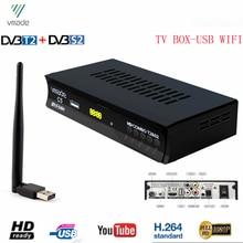 Hd 1080p digital receptor satélite terrestre sintonizador de tv com usb wifi DVB T2/s2 combinação suporte youtube bisskey mini conjunto caixa superior