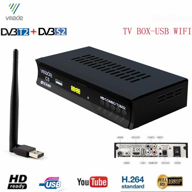 Receptor satélite terrestre Digital HD de 1080P, sintonizador de TV con WiFi USB, Combo S2, compatible con Youtube, minidecodificador de señal