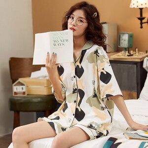 Image 2 - الكرتون الدب المرأة يوكاتا ثوب الكيمونو الياباني منامة مجموعات 100% القطن Bathrobe الدعاوى قصيرة بانت ثوب النوم ملابس النوم الترفيه Homewear