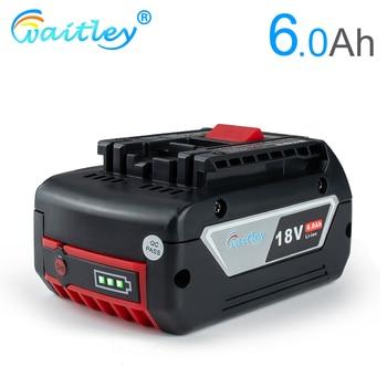 цена на Waitley 18V 6.0A Rechargeable Li-ion Battery For Bosch 18V Power tool Backup 6000mah Portable Replacement BAT609 Indicator light