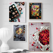 Kitchen Decoration Dessert Fruit Canvas Painting Cherry Lemon Coffee Chocolate Modular Wall Art Pictures Modern Nordic Poster