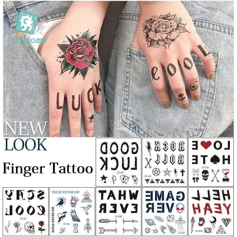Rocooart Rock Punk Style Tattoo Sticker Flower Letters Finger Tattoos Makeup Party Body Art Temporary Tattoo Stickers Fake Taty