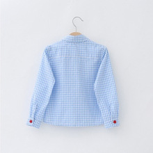 Рубашка для девочек г., новая стильная весенняя одежда топы в западном стиле для девочек, детская клетчатая рубашка в Корейском стиле с длинными рукавами модная Ah80