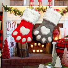 Christmas Pet Stocking Dog Cat Paw Socks New Year Gift Bag Christmas Goods Hanging Toys Xmas Tree Hanging Ornaments Navidad 2018 cute deer patterned christmas new year socks for pet cat dog white red size m 4 pcs