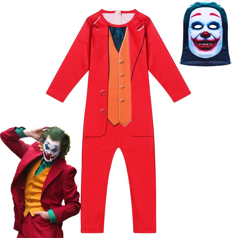 Halloween Costumes For Kids Joker Suicide Squad Cosplay Costume With Mask Boys Girls Killer Croc Clothing Clown Carnival Clothes