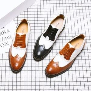 Image 2 - ผู้ชายหนังอย่างเป็นทางการรองเท้า Brogues สังคมรองเท้าชายออกแบบสีดำผู้ชายธุรกิจรองเท้า Pointed Toe รองเท้าแต่งงานผู้ชาย