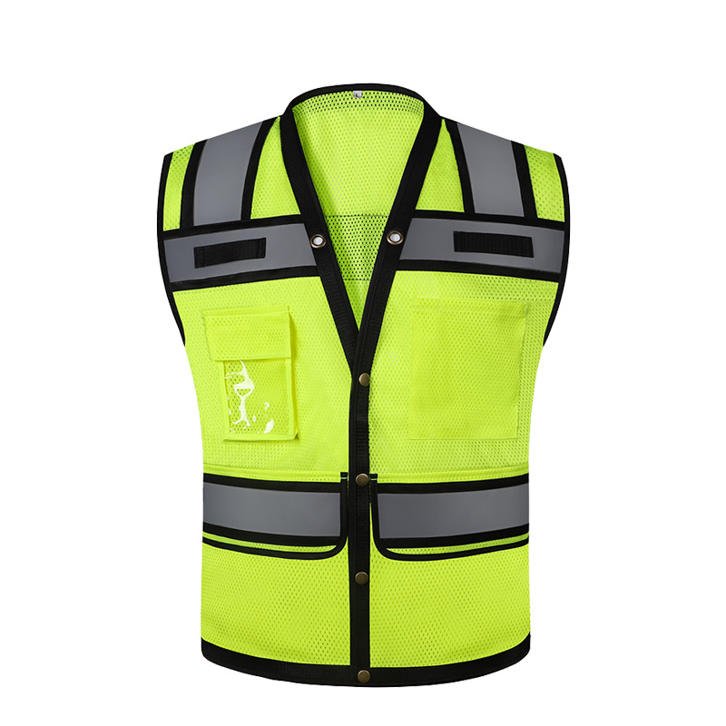 Hi Vis Reflective Vest Safety Clothing Breathable Mesh Vest Single Breasted Construction Site Management Staff Sleeveless Tops