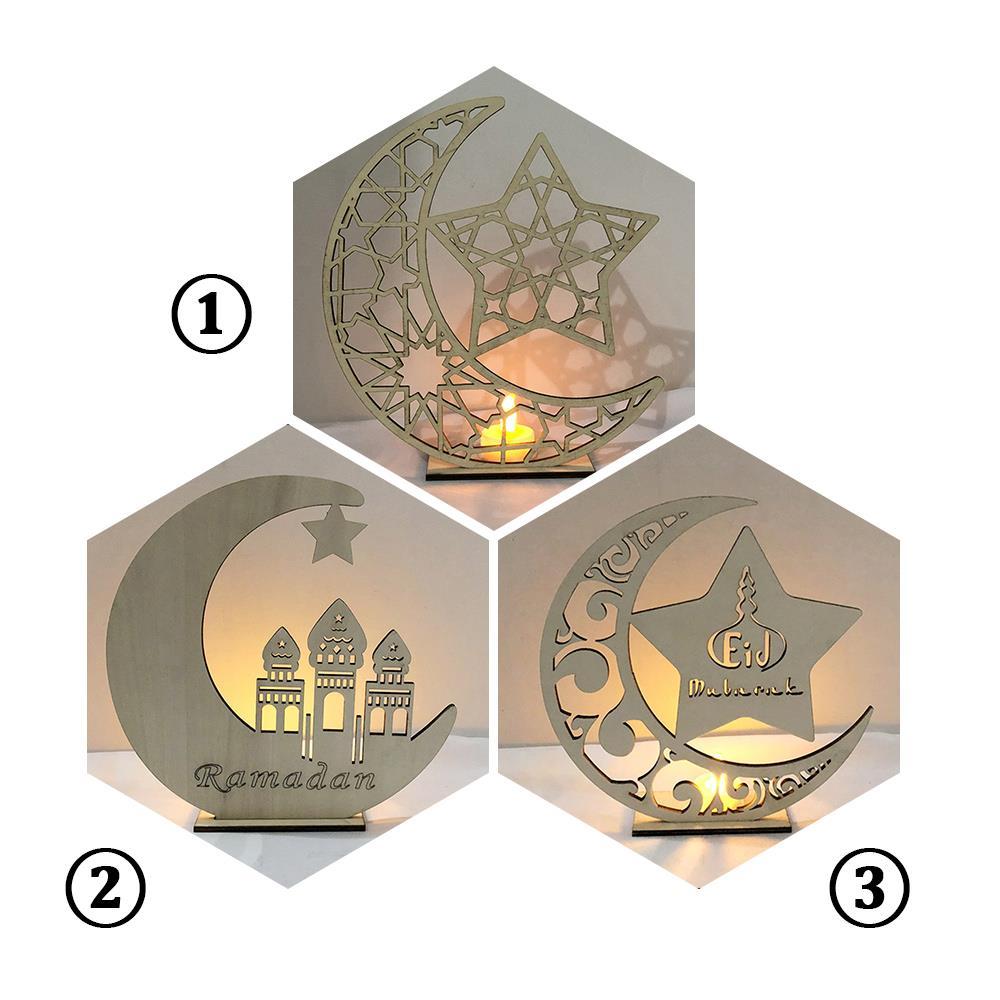 Candles Light LED Tealight Ramadan Wooden Eid Mubarak Crescent Holiday Decor Creative Super Bright Candles Lamp Mosque