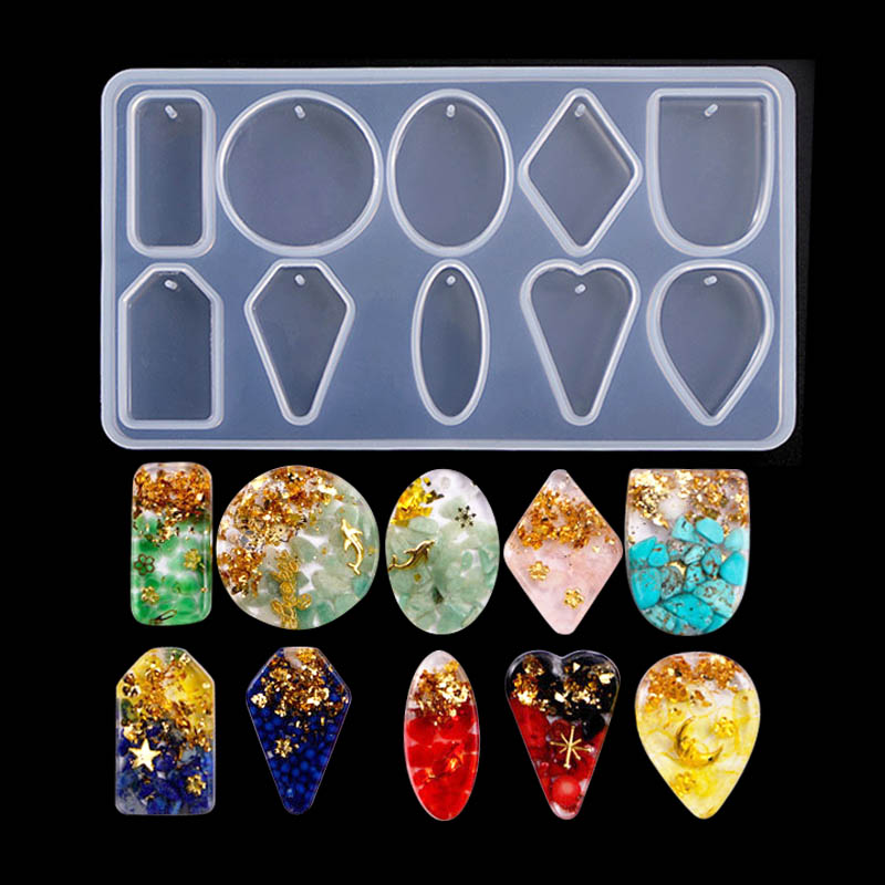 1PC Mix Pendant Shaped Jewelry Tool Jewelry Mold UV Epoxy Resin Silicone Molds For Making Jewelry