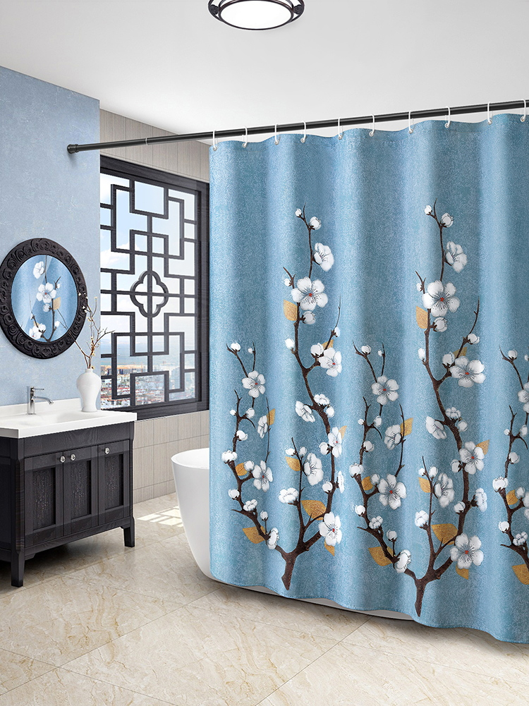 Bath Curtain Bathroom Shower Room Curtain Water-proof Cloth Toilet Bath Curtain Accessories Shower Room Decoration