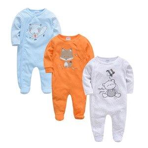 Image 2 - 2020 新年春長袖ソフト服のための 3 個コットンロンパース新生児男の子 0 12 メートル衣装パジャマ