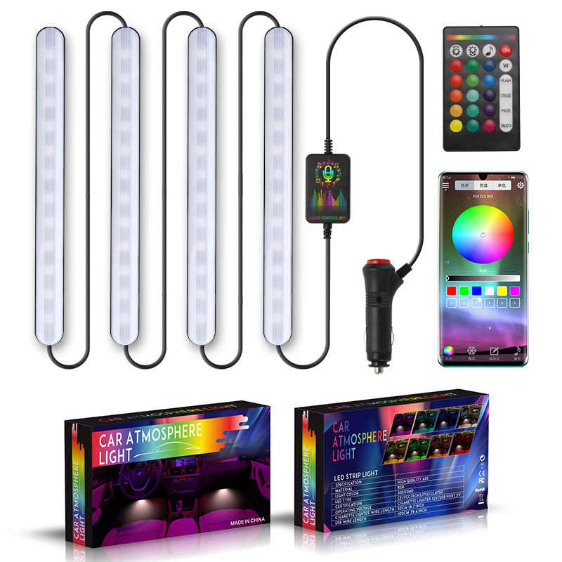 Auto RGB LED Muziek Voice Sound Control Car Interieur Decoratieve Sfeer Auto RGB Pathway Floor Light Strip Afstandsbediening 12V