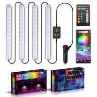 Car RGB LED Music Voice Sound Control Car Interior Decorative Atmosphere Auto RGB Pathway Floor Light Strip Remote Control 12V