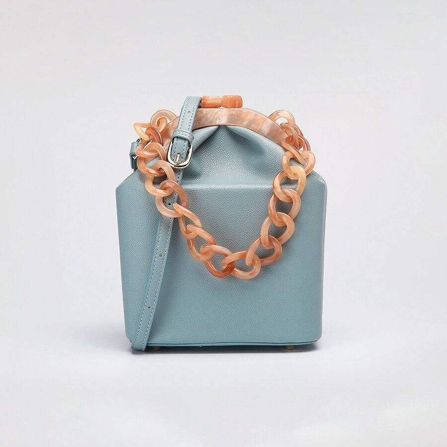 Image 3 - Women Box Bag Handbag Luxury Designer 2019 Acrylic Thick Chain  Clip Bucket Bags Women Famous Brands Purses And Handbag For  GirlsTop-Handle Bags