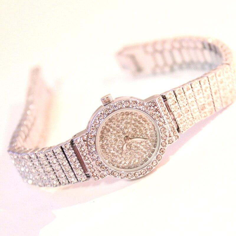 Bs Bee Sister Diamond Women Watches Luxury Brand Small Dial Female Rose Gold Watches Ladies Stainless Steel Lock Bayan Kol Saati 4