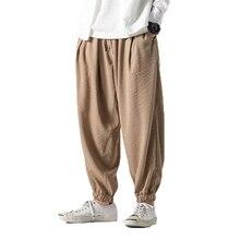 Мужские льняные брюки цвета хаки, мужские льняные штаны с веревкой, мужские винтажные штаны в стиле хип-хоп, Мужские Беговые брюки в повседневном стиле, брюки до щиколотки