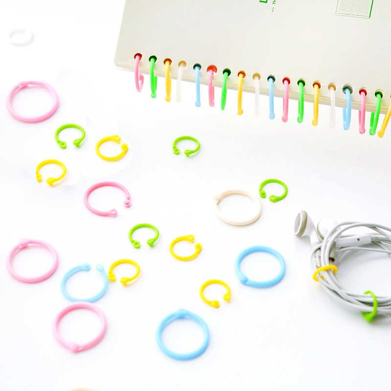 12 Pcs Plastik Lingkaran Cincin Klip DIY Loose Leaf Binder Buku Lingkaran Notebook Lingkaran Cincin Kunci Ringsstationary Kantor Sekolah