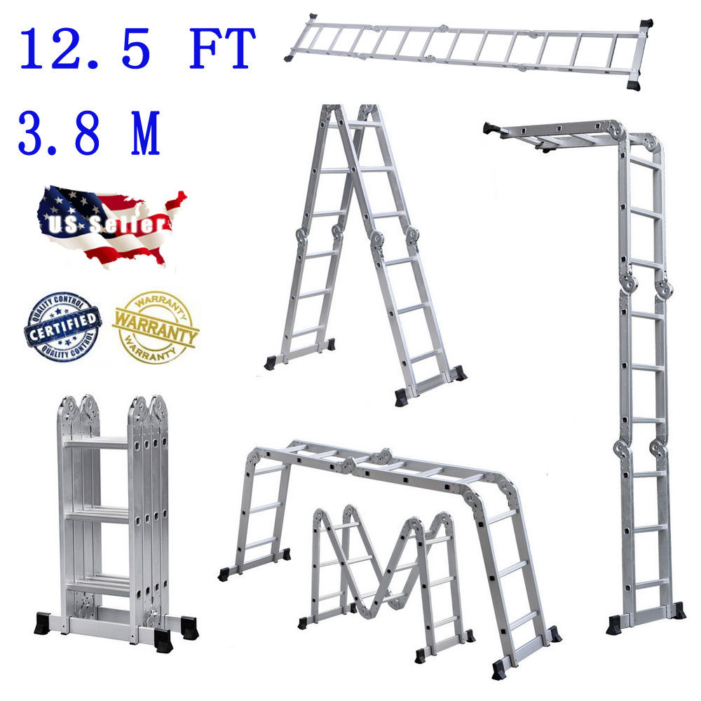 Practical 12-Step Joints Aluminum Folding Ladder Silver