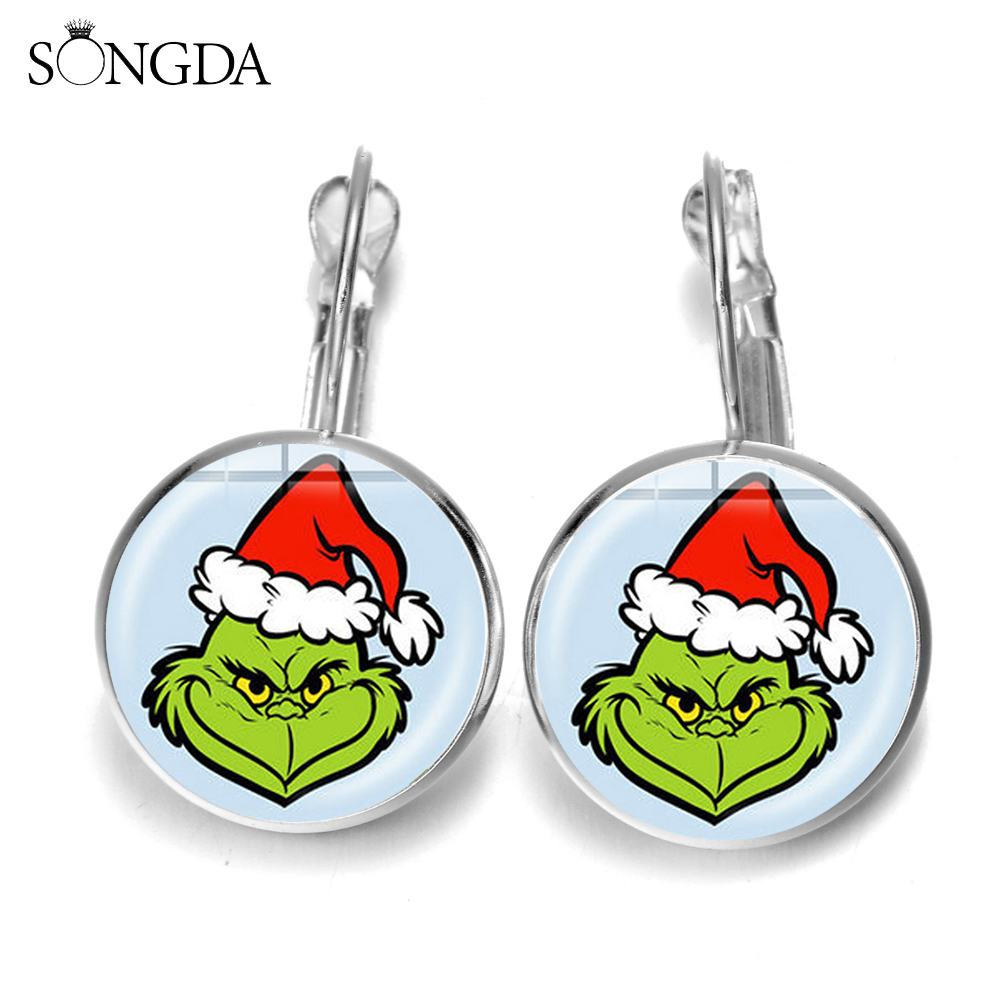 Christmas Earrings Christmas Grinch Earrings Festive stud earrings Party Grinch