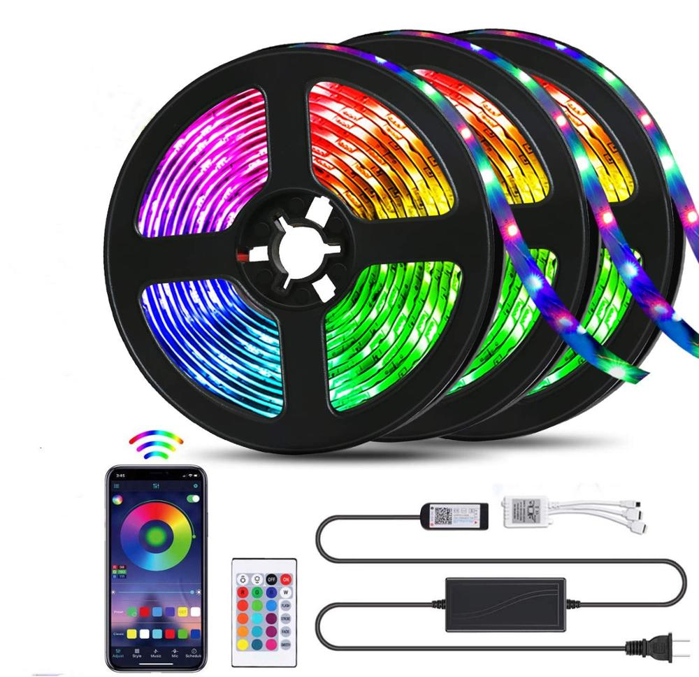 Bluetooth LED Strip Lights 32.8ft RGB 5050 SMD Ribbon Waterproof RGB BackLight LED Light 5M 10M Tape Diode DC 12V Control image