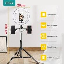 ESR 비디오 라이트 LED Selfie 전화 링 라이트 램프 사진 LED 라이트 전화 홀더 2M 삼각대 스탠드 메이크업 비디오 라이브 스튜디오