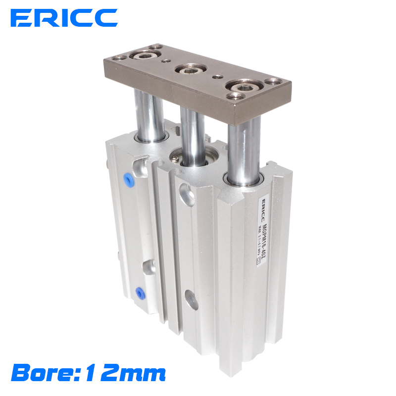 SMC Typ Compact handbuch zylinder Dünnen Drei achsen air pneumatische zylinder mit führungs stange MGPM bohrung 12 mm hub 10-150mm MGPL12