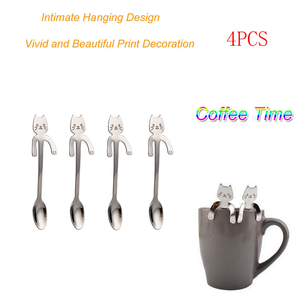 Cat Long Handle Spoons Stainless Steel Teaspoon Kitchen Tools Hanging Up Silver