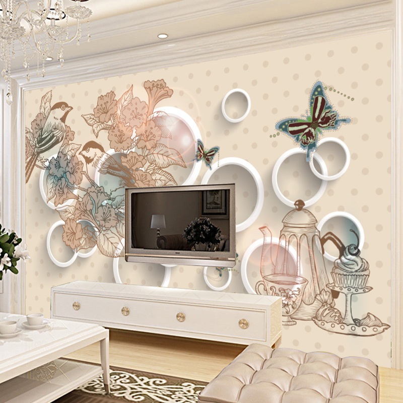 Simple 3D Living Room Television Background Wall Seamless Wall Cloth Butterfly Wallpaper TV Wall Covering Fabric