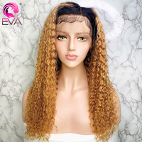 Eva Ombre Blonde Lace Front Human Hair Wigs Pre plucked With Baby Hair 130%/150% Curly 13x6 Lace Front Wigs Brazilian Remy Hair