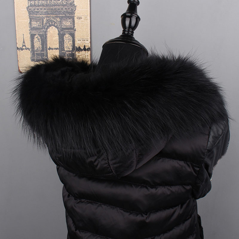 MS.MinShu Genuine Raccoon Fur Hood Trim Scarf Black Color Fox Fur Collar Scarf Big Fur Collar Custom Made Hoodie Fur Trim