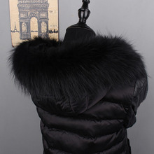MS.MinShu Genuine Raccoon Fur Hood Trim Scarf Black Color Fox Fur Collar Scarf Big Fur Collar Custom Made Hoodie Fur Trim