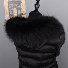MS.MinShu bufanda de piel de mapache auténtica con capucha, Cuello de piel de zorro de Color negro, bufanda, Cuello de piel grande, Sudadera con capucha personalizada, adorno de piel