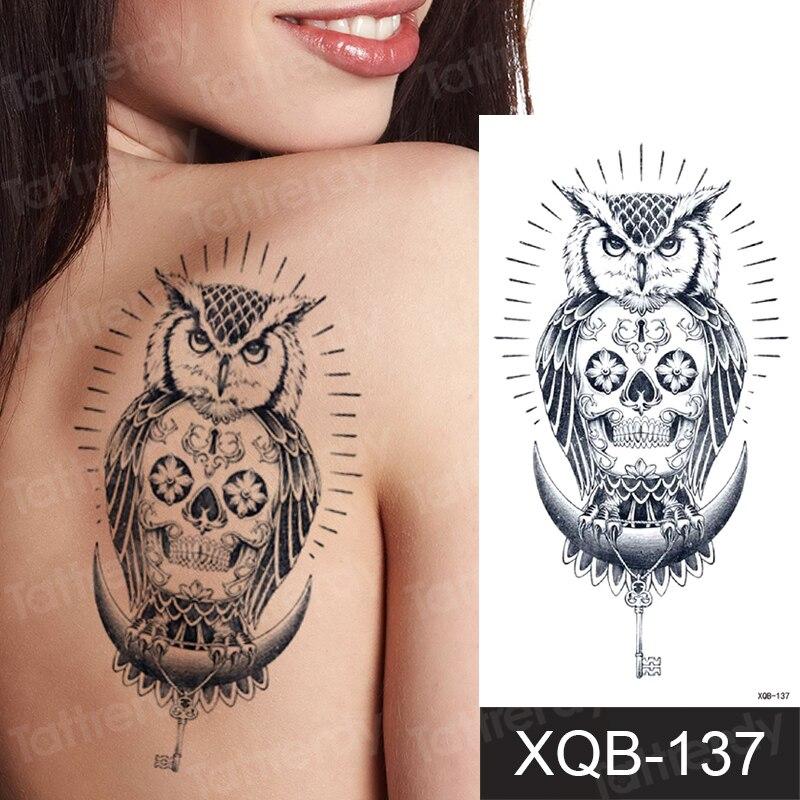 Transferencia de agua negro temporal del tatuaje etiqueta engomada del tatuaje para niños hombres y mujeres Lobo León búho dragón árbol tatuajes Foream cuerpo tatuaje para brazo falso.