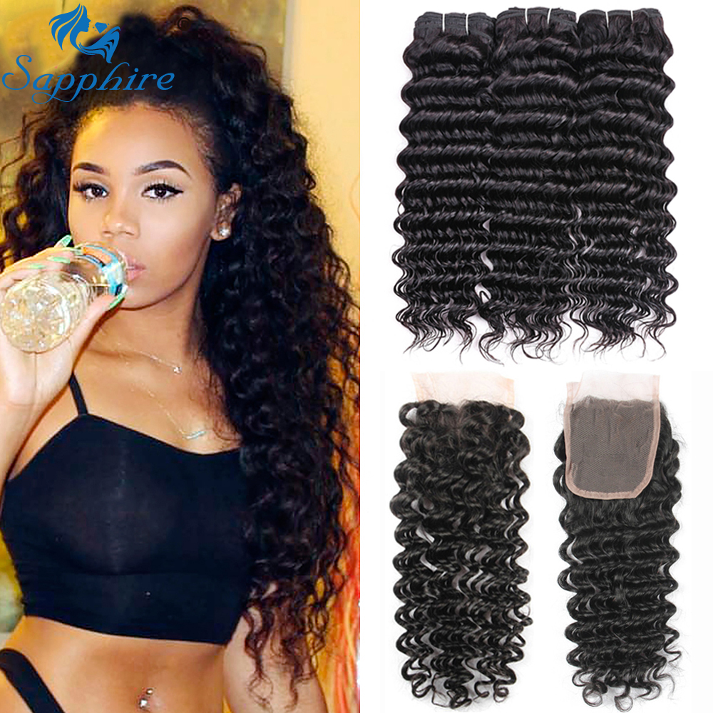 Sapphire Brazilian Hair Weave 3 Bundles With Lace Closure Curly Non-Remy Human Hair Deep Wave Bundles With Closure