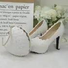 BaoYaFang/комплект из свадебных туфель и сумочки белого, ярко синего цветов; женская обувь на платформе; женская обувь на высоком каблуке; сумочк...